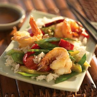 Szechuan Shrimp with Snow Peas.