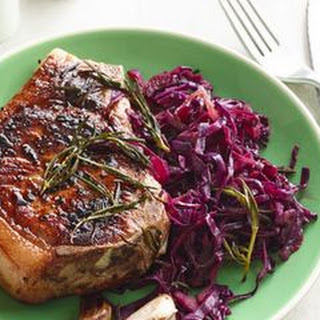 Rosemary Skillet Pork Chops with Quick Braised Cabbage.