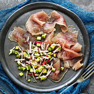 Tuna Gravlax with Radish and Avocado Salad