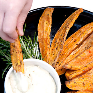 Baked Sweet Potato Wedges with Pesto Mayo.
