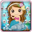 Cartoon Mermaid Pearls Keyboard Theme
