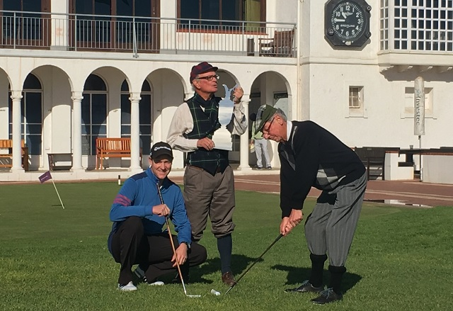 Ready for the Humewood Golf Club's celebration of the Open Championship at the famous links course in Port Elizabeth on July 20 and 21 are, from left, general manager Brendon Timm and members Alan Campbell and Bruce Wesson.