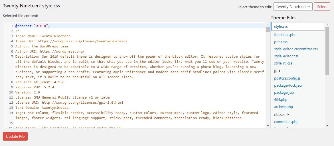 Theme Editor for WordPress Twenty Nineteen
