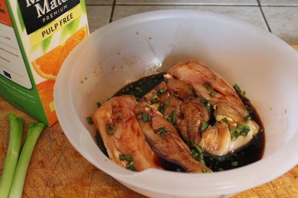 MARINADE:Combine soy sauce, green onions, orange juice, and garlic. Place chicken in a plastic...