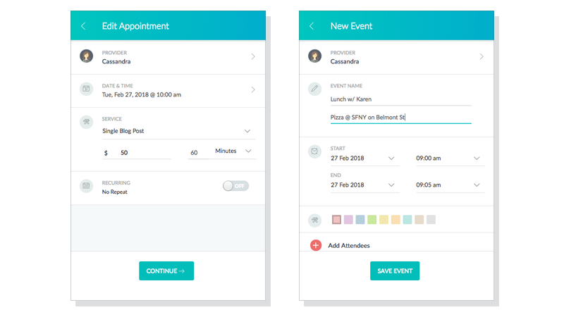 Setmore will deploy a new design for the appointment creation window sometime this year. This update will also bring the ability to create personal Events to your Setmore calendar.