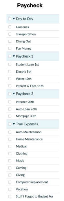 How Many Categories Should I Have in YNAB? Paycheck categories