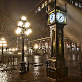 The Gastown Steam Clock by James Wheeler - Buildings & Architecture Public & Historical ( water, building, canada, clock, gastown, street, vancouver, lights, foggy, fog, dark, night, cambie, steam, british columbia )