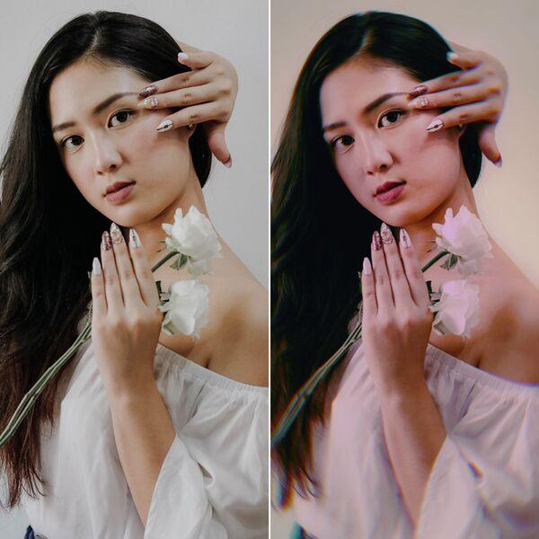 mulher com o cabelo de lado, segurando uma flor branca sendo editada pelo AirBrush