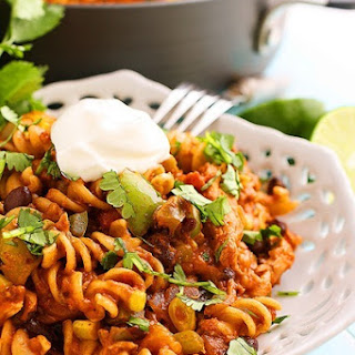 Cheesy Tex-Mex Chicken Pasta Skillet