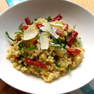 Parmesan Garlic Rice with Sun-Dried Tomatoes.