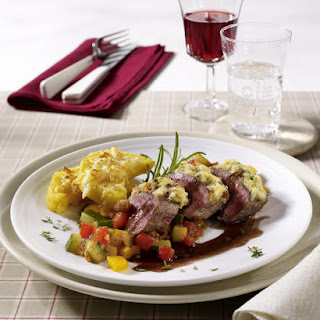 Rack of Lamb with Gorgonzola Crust, Baked Polenta and Ratatouille