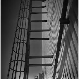 B&W Accentuated Lines & Light by Glenn Visser - Buildings & Architecture Architectural Detail ( ladders, lines, factory, industry, light )