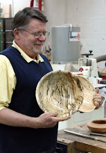 Photo: Dick Webster with a pair of spectacularly spalted maple bowls.