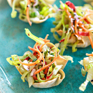 Asian Salad Wonton Cup Appetizers.