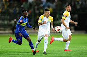 Gaston Sirino of Mamelodi Sundowns takes on Taariq Fielies of Cape Town City during the Absa Premiership 2018/19 game between Cape Town City and Mamelodi Sundowns at Athlone Stadium in Cape Town on 5 March 2019.