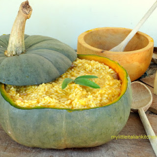 Pumpkin Sausage Risotto served in a pumpkin
