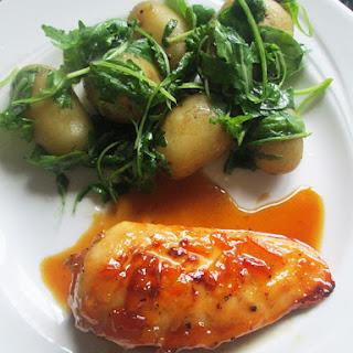 Gluten Free Marmalade Chicken with Rocket Potatoes.