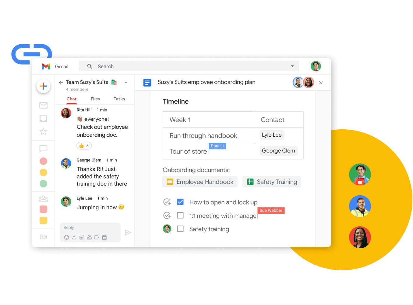 Workspace illustrative graphic - teammates edit a doc together while chatting live
