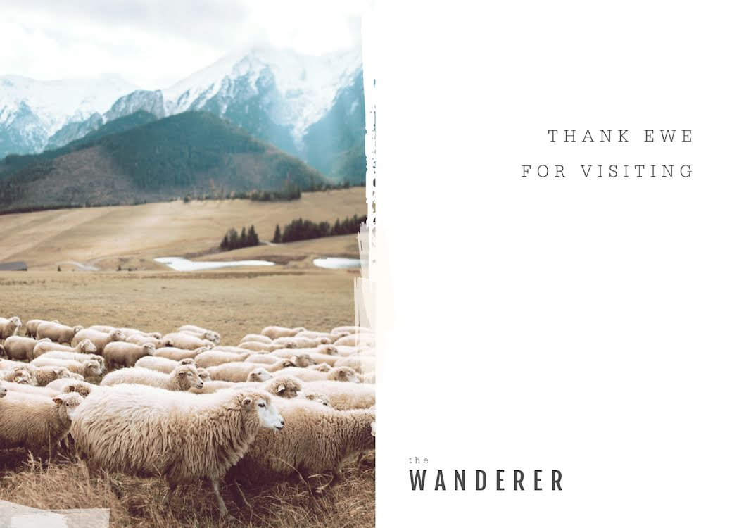Thank Ewe for Visiting - Thank You Card Template