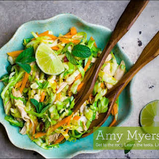 Roasted Chicken and Coconut Mixed Green Salad with Creamy Avocado Dressing.
