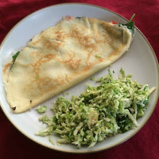 Spinach, Roasted Red Pepper and Asiago Crepes.