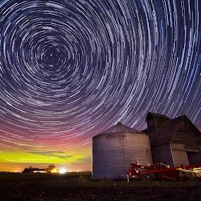 Auroras Over Agriculture by Evan Ludes - Landscapes Starscapes ( northern, lights, farm, auroras, barn, trail, aurora, star, trails, rural )