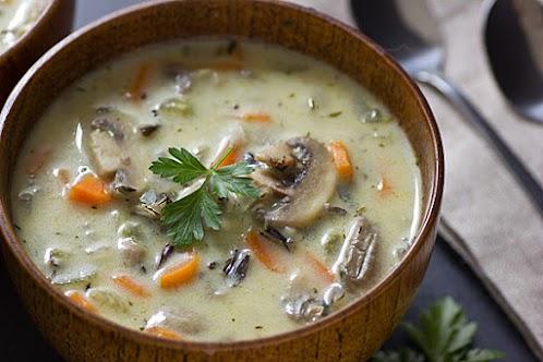 Vegetarian Creamy Wild Rice and Mushroom Soup