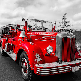 Fire Engine by Chris Montcalmo - Transportation Other ( colorsplash, fire fighting, fire truck, vintage, colorpop, firefighters )