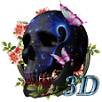 3D Hell Neon Skull butterfly flowers theme icon