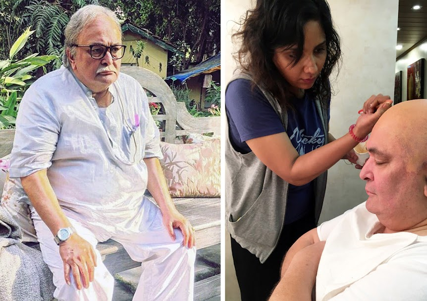 (Left) Rishi Kapoor in 102 Not Out. (Right) Preetisheel Singh working on his look in the film.
