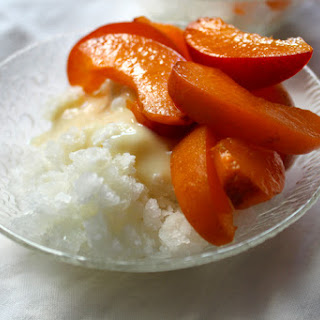 Ginger Shave Ice and Apricots.