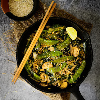 Snow Peas and Mushroom Stir Fry.