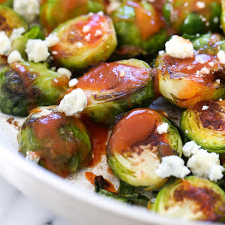 Buffalo Brussels Sprouts with Crumbled Blue Cheese.