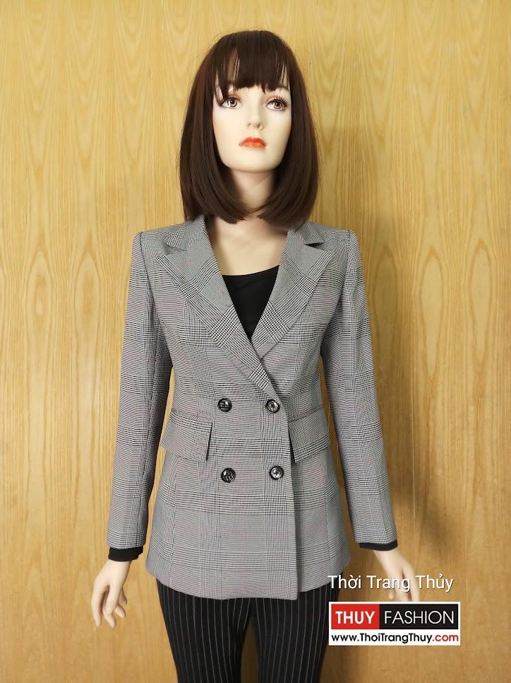 Áo blazer nữ dáng dài kẻ caro hai hàng cúc V630 hải phòng