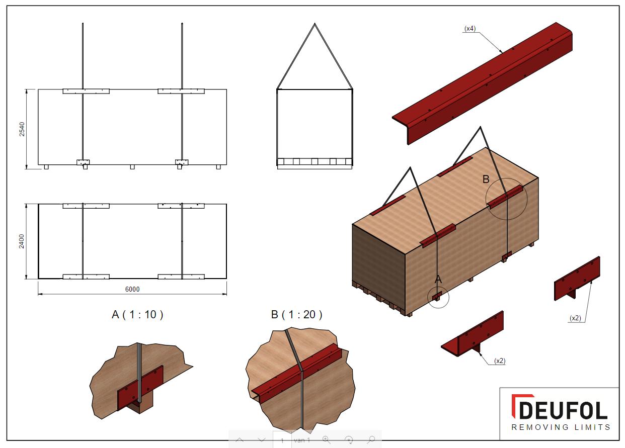 Set van 4 stalen beschermingshoeken - deksel kist -  5 x 1000 / 97 * 47