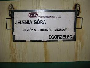 Photo: Jelenia Góra: tablica kierunkowa pociągu 70121 relacji Jelenia Góra - Zgorzelec.