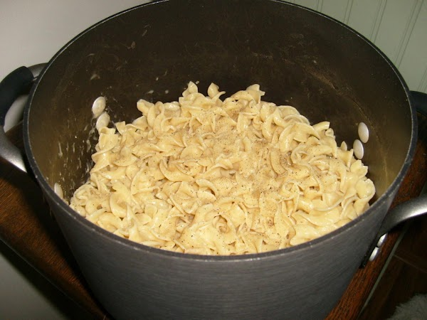 cook egg noodles, drain, and add the chicken soup to the noodles
