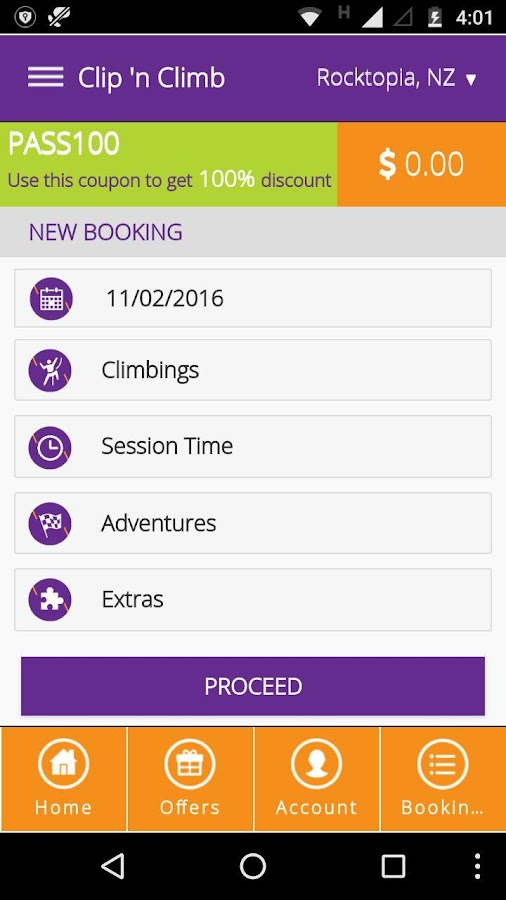 Clip 'n Climb Booking- screenshot