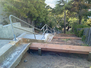 Photo: San Francisco Department of Public Works carpenters' first day of work on building a viewing platform and terracing for gardens at the top of the Hidden Garden Steps (16th Avenue, between Kirkham and Lawton streets) in San Francisco's Inner Sunset District (May 2, 2013)