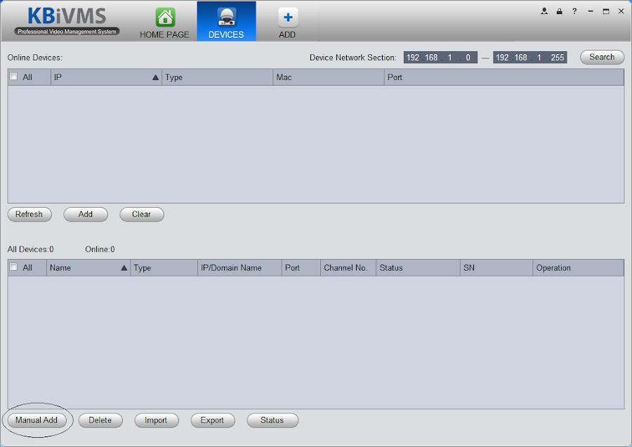 Thêm đầu ghi hoặc camera KBVision vào phần mềm KBiVMS