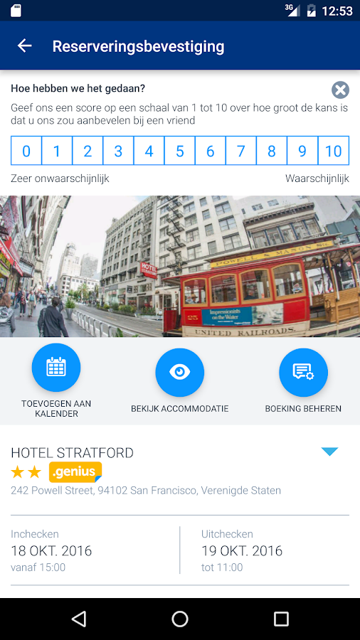 Booking.com Hotelreserveringen: screenshot