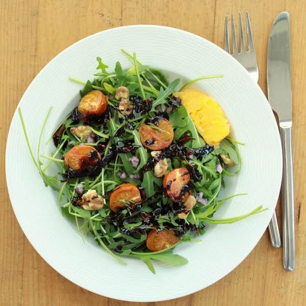Refreshing Rocket Salad With An Incredible But Yet So Simple Orange-balsamic Dressing. Ready In 25 Minutes & Requires Only 8 Ingredients. Vegan, Healthy And Amazingly Yummy!