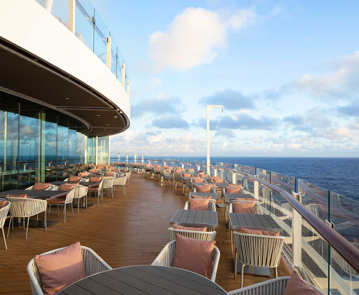 celebrity-edge-Oceanview-Cafe-Terrace.jpg -  Oceanview Cafe, Celebrity Cruises' signature buffet restaurant has been completely reimagined for Celebrity Edge. It's open for breakfast, lunch and dinner.