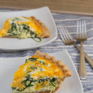 Baby Spinach and Cheddar Quiche.