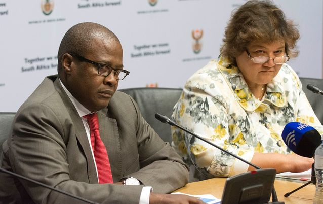 Brian Molefe and Lynne Brown. Picture: TREVOR SAMSON