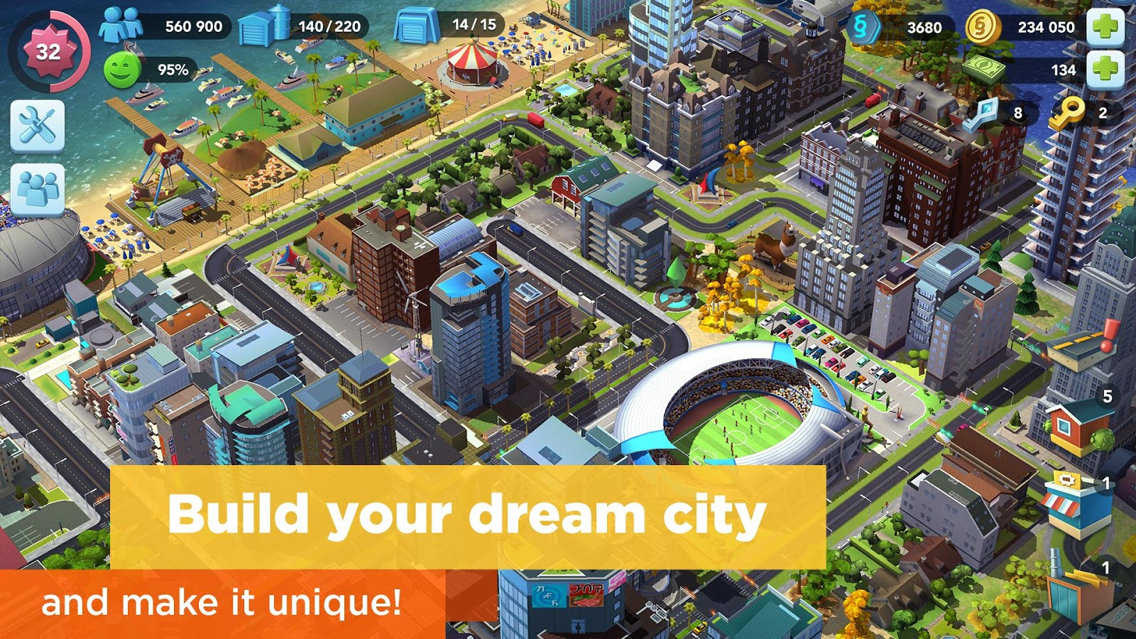 SimCity BuildIt v1.21.2.71359 Mod (Unlimited Gold/Key/Money)