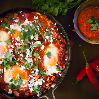 Tunisian Shakshouka Recipe with Red Chilli Harissa.