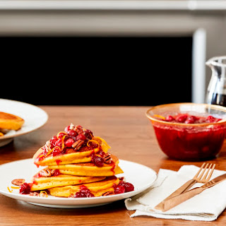 Pumpkin Pancakes with Cranberry Topping.