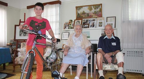 PEDAL POWER: Neeve Mor, 11, Eileen Spraggs, 101, and her brother Ron Holliday, 98, are among the Narrabri residents taking part in the Great Cycle Challenge this month to raise funds for the Children's Medical Research Institute.