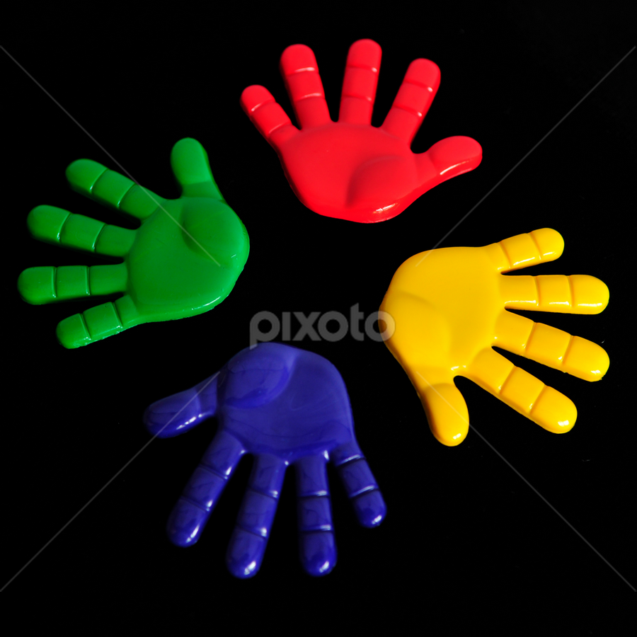 Colorful Hands in a Circle by Todd Lester - Artistic Objects Other Objects ( red, symetric, blue, hands, green, yellow, circle )